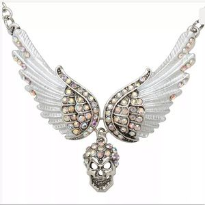 Skull wings crystal pastel goth glam doll necklace